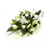 2C - Tied Sheaf - All white lillies and roses